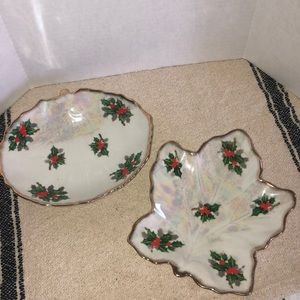 Vintage Ucagco Christmas holly berry Candy dish